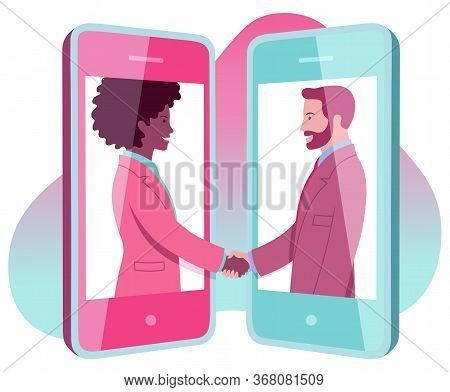 Vector Illustration Representing Young Black Business Woman Who Agrees Remotely With Bearded Busines