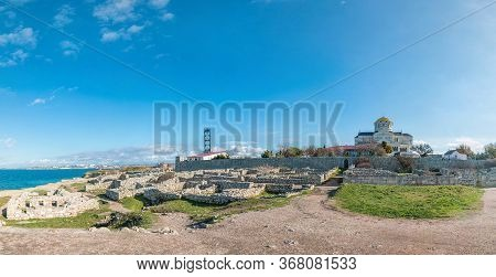 Panoramic View On Ruins Of Chersonesus, An Ancient Greek Colony And Vladimir Cathedral In Nowadays S