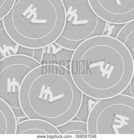 Indian Rupee Silver Coins Seamless Pattern. Alive Scattered Black And White Inr Coins. Success Conce