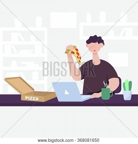 The Guy Ordered Pizza And Received Convenient And Fast Online Delivery Over The Internet On A Laptop