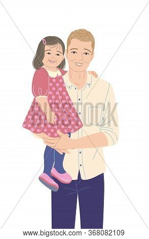 Young Father Carrying His Little Daughter Isolated On White Background. Dad Holding Baby Girl. Fathe