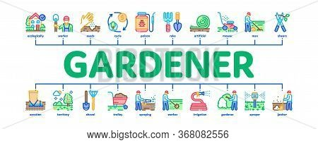 Gardener Worker Instrument Minimal Infographic Web Banner Vector. Gardener Shovel And Rake, Lawn Mow