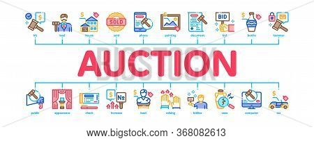 Auction Buying And Selling Goods Minimal Infographic Web Banner Vector. Internet Auction And Applica
