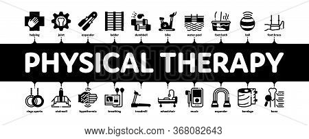 Physical Therapy And Recovery Minimal Infographic Web Banner Vector. Treadmill And Exercise Bike, Du