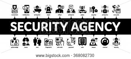 Security Agency Property Protect Minimal Infographic Web Banner Vector. Security Agency Service Vide
