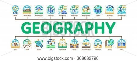 Geography Education Minimal Infographic Web Banner Vector. History And Urban Geography, Climatology