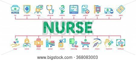 Nurse Medical Aid Minimal Infographic Web Banner Vector. Nurse Hat And Stethoscope, Pulse Cardiogram