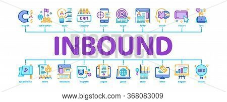 Inbound Marketing Minimal Infographic Web Banner Vector. Growth Roi And Seo, Attract And Crm, Email,