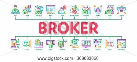 Broker Advice Business Minimal Infographic Web Banner Vector. Broker Businessman And Consultant, Sel