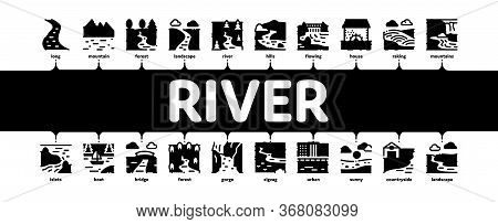 River Landscape Minimal Infographic Web Banner Vector. River With Mountain And Forest, Bridge And Ci
