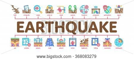 Earthquake Disaster Minimal Infographic Web Banner Vector. Building And Road Destruction, Stone Coll