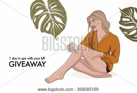 Beauty Parlour Epilation Service. Woman Making Depilation Advertising Banner, Wellbeing Spa Procedur