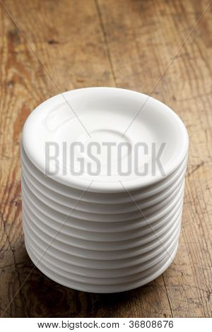 Stack of saucers.