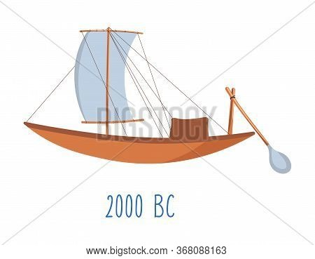 Wooden Ship With Sails And Oar Vintage Boat