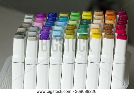 Set Of Bright Multi-colored Felt-tip Pens Or Markers With Designation Of Numbers And The Name Of Col