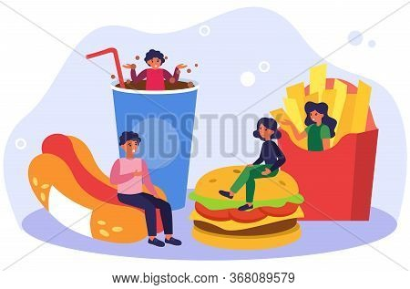 People Keeping Fast Food Diet. Meeting And Talking, Hotdog, French Fries, Hamburger Flat Vector Illu