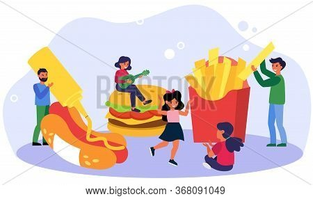 Happy People Enjoying Fast Food Party. Cooking Hotdog, French Fries, Having Fun Flat Vector Illustra