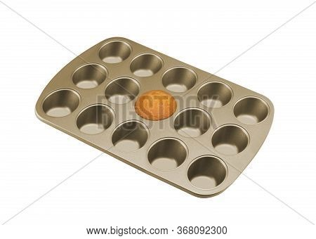 Muffin Pan With Muffin Isolated On A White Background