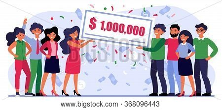 Happy People Winning Money Prize. Bank Check For One Million Dollars, Jackpot, Grant Flat Vector Ill