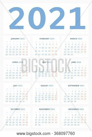 Wall Calendar Template For 2021 In A Classic Minimalist Style. Week Starts On Monday. Monthly Calend