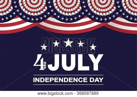 4th Of July, Usa Independence Day Background With Fans In Colors Of American Flag With Stars And Str
