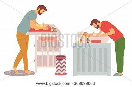 Father With Kid Vector, Daddy Changing Diaper And Bathing Baby With Shampoo And Lotions For Childcar