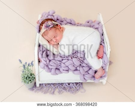 Beautiful newborn in floral diadem sleeping on tiny bed