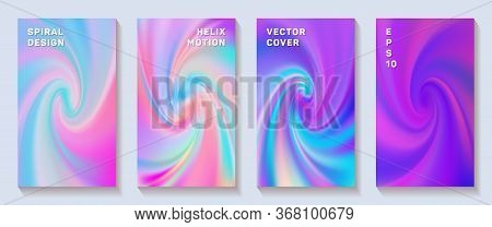 Fluid Gradient Spiral Volute Cover Page Templates Vector Set. Vivid Brochure Front Pages Collection.