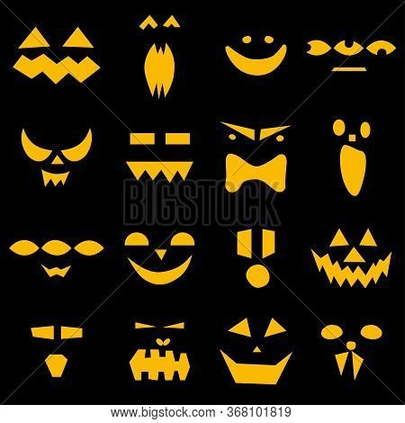 Seamless Pattern Of Halloween Scary Pumpkins Faces On Black Background. Funny, Creepy, Smiling Faces