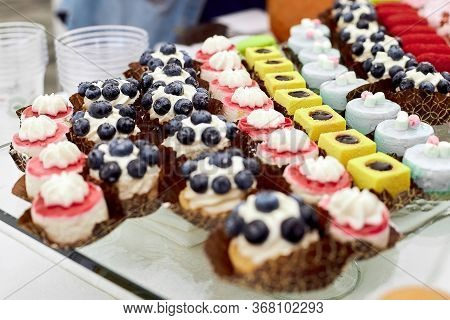 Dessert With Blueberries, A Basket Dessert, Beautiful, With Air Cream, Delicious For Welcome Snacks