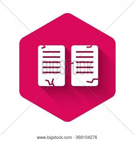 White The Commandments Icon Isolated With Long Shadow. Gods Law Concept. Pink Hexagon Button. Vector