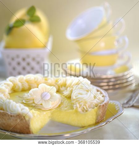 Closeup Of Yummy Lemon Tart With Juicy Filling And Creative Cream Decoration Put On Porcelain Plate