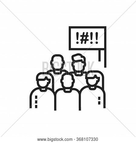 Social Protest Line Black Icon. Manifestations Of Civil Unrest. Group Of People Strike. Pictogram Fo