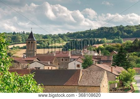 View Of Small Town Of Bourgogne In France. Village Landscape With Old Living Houses With Red Tile Ro