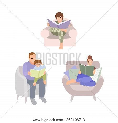 Collection Of People Reading Or Students Studying And Family Fun Time. Set Of Book Lovers, Readers,