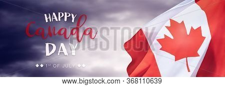 Canadian National Holiday. 1 July. Happy Canada Day Greeting Card. Celebration Background With Canad
