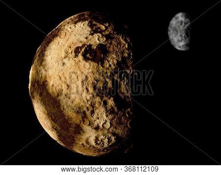 Pluto And Its Moon Charon, 3d Illustration