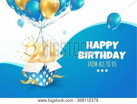Celebrating Of 20 Th Years Birthday Vector 3d Illustration. Twenty Anniversary Celebration. Open Gif