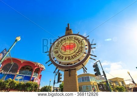 San Francisco, California, United States - August 14, 2016: Signboard Of Fishermans Wharf Of San Fra