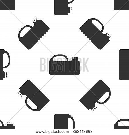 Grey Plastic Canister For Motor Machine Oil Icon Isolated Seamless Pattern On White Background. Oil