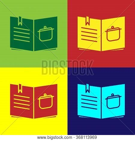 Pop Art Cookbook Icon Isolated On Color Background. Cooking Book Icon. Recipe Book. Fork And Knife I