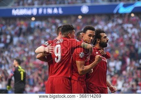 Madrid, Spain - June 1, 2019: Mohamed Salah Of Liverpool Celebrates With Trent Alexander-arnold Of L