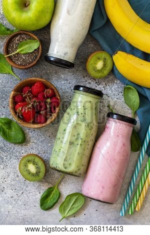 The Concept Of A Healthy Diet. Detox Smoothies Mix. Green Smoothies Vegetable And Fruit Smoothies On