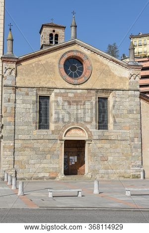 Lugano, Switzerland - 23 April 2020: The Church Of Santa Maria Degli Angioli At Lugano On The Italia