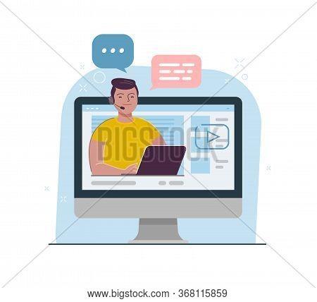 Live Stream, Webinar. Video Blogger Cartoon Vector Illustration