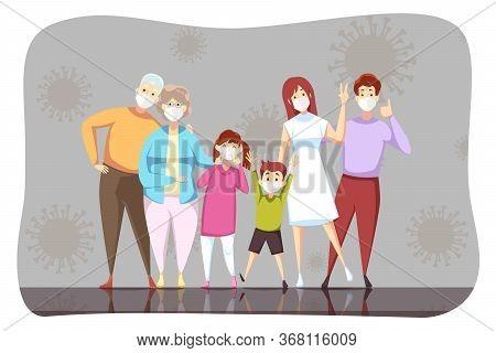 Coronavirus, 2019ncov, Healthcare, Infection, Protection Concept. Family Grandad Grandmom Father Mot