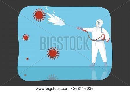 Disinfection, Coronavirus, Protection, Biohazard Concept. Man In Hazmat And Protective Suit Respirat