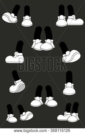 Cartoon Legs On Blue Background. Animated Legs Standing In Different Poses. Cute Leg In Boots  Colle