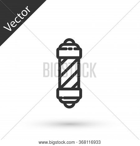 Grey Line Classic Barber Shop Pole Icon Isolated On White Background. Barbershop Pole Symbol. Vector