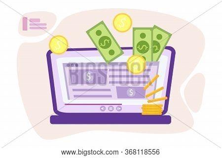 Website Monetization Concept, Vector Illustration, Earn Money Online. Blog Content And Generating In